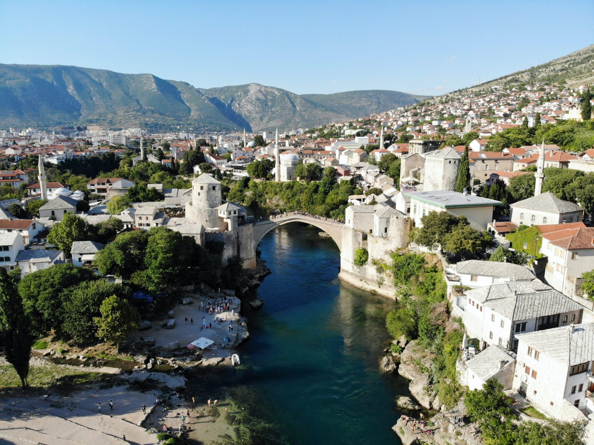 Best Countries for Digital Nomads in Europe - Panoramic view of Mostar, Bosnia and Herzegovina
