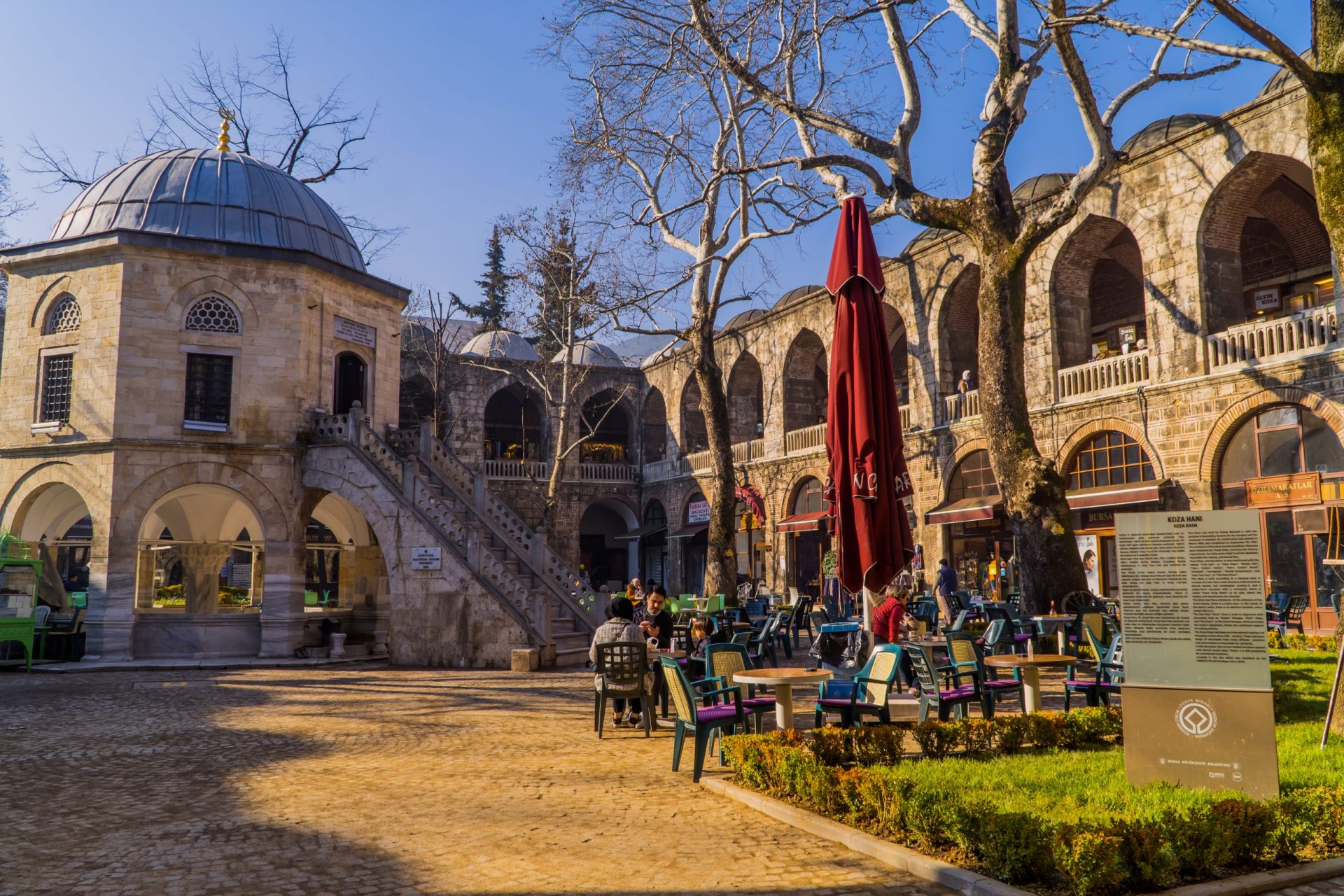 The Ultimate Guide to Turkey for Digital Nomads - tea house in the Silk Bazaar of Bursa