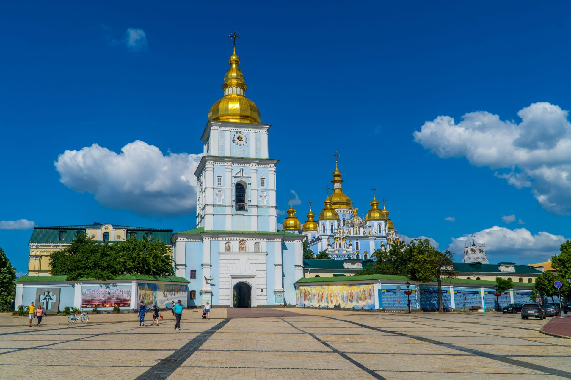 Best things to do in Kiev - panoramic view of St. Michael's Square with the gold-domed St. Michael's Cathedral