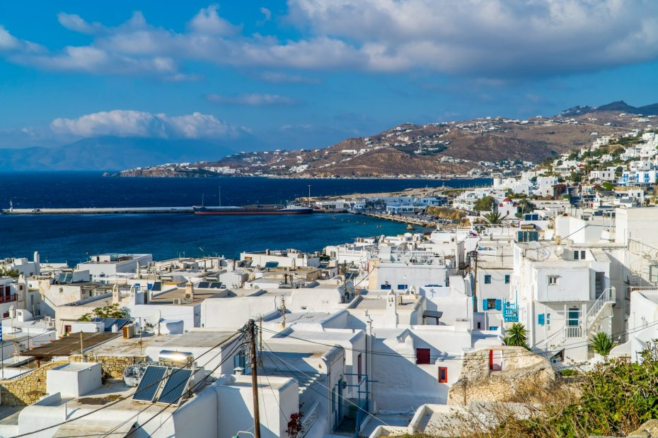Digital Nomad Greece Guide - featured image - Mykonos panorama view