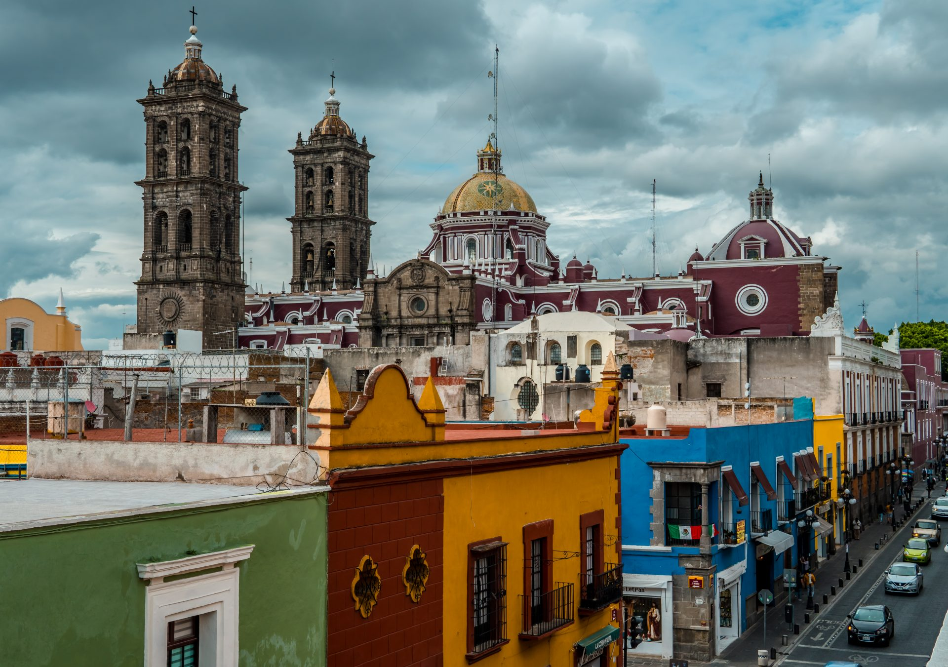 Best Things to do in Puebla, Mexico - aerial view of the historic center of Puebla from the rooftop of Museo Amparo